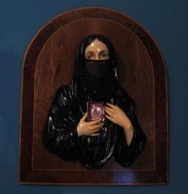 العذراء أسلمت 2012 The Virgin Became Muslim 2012, 42x32cm, mied media on wood