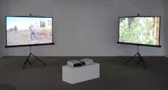 Starry Home, 2014. Two-channel video installation, 5 mins and 7:35 mins. وطن النجوم، 2014. تجهيز فيديو ثنائي القناة، 5 دقائق و 7 دقائق و35 ثانية
